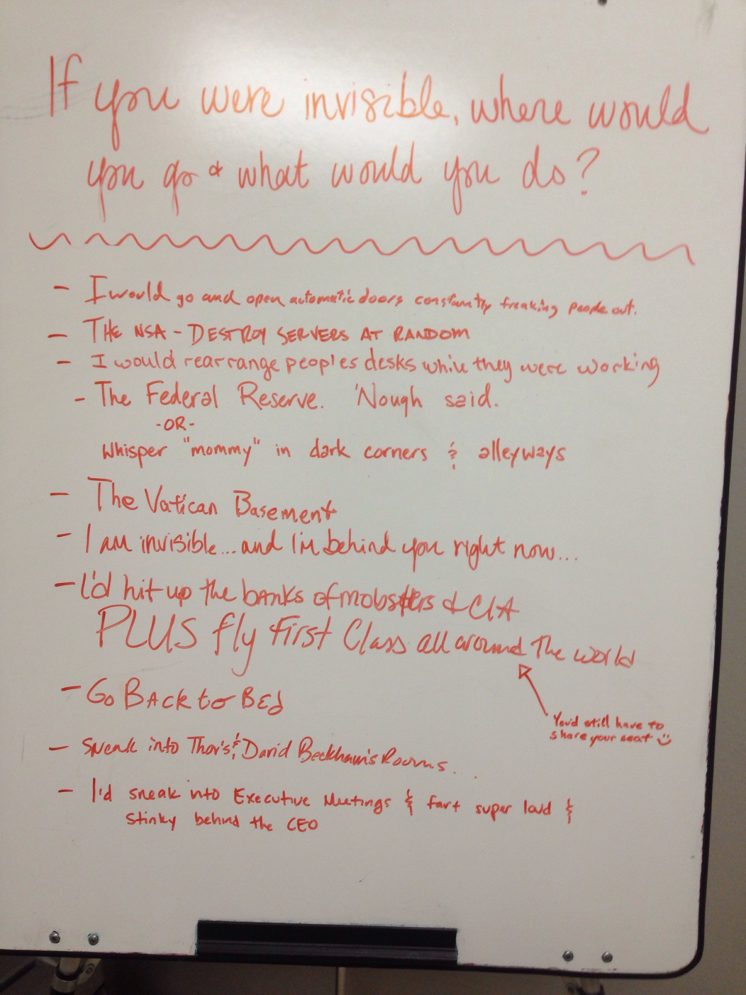 the life and times of cldar break room board 4 if you were invisible where would you go and what would you do